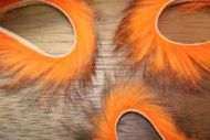 "1/8"" Two Toned Rabbit Zonker Strips Black/Flo.Orange"