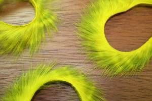 """1/8"""" Olive Barred Rabbit Zonker Strips Olive/Yellow"""