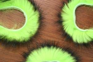 "1/8"" Two Toned Rabbit Zonker Strips Black/Flo Chartreuse"