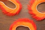 "1/8"" Two Toned Rabbit Zonker Strips Hot Orange/Flo Orange"